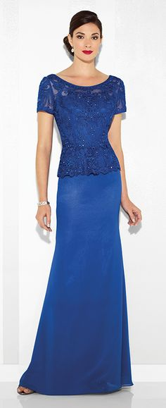 Chiffon and ribbon work sheath with short sleeves, illusion scoop neckline, lightly hand-beaded ribbon work bodice with peplum at natural waist, keyhole back.