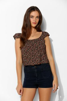 Pins And Needles Flutter-Sleeve Babydoll Top