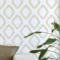 Scandinavian inspired diamond pattern stencil. Alignment marks are added to stencil for easy repositioning of the stencil.    Our stencils are