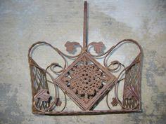 Industrial Vintage French Metal Basket Openwork Geometric Filigree Medallion