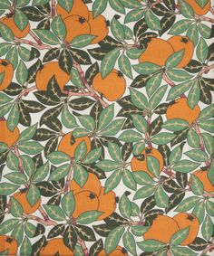 Rejuvenate your interiors with a textile refresh, courtesy of Liberty London Fabrics' Mae Tree Linen in Clementine from the Nesfield collection. Textile Patterns, Cool Patterns, Textile Design, Fabric Design, Print Patterns, Pattern Design, Fabric Art, Print Design, Liberty Art Fabrics