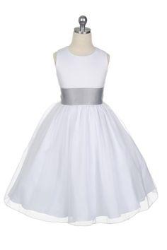 67b06b0af43 Satin Bodice Organza Skirt Flower Girl Dress with Silver Sash