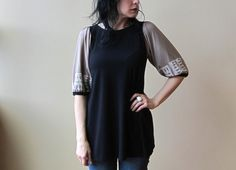 Women's Tunic Top, Black & Pale Gold with White Print, Puff Sleeves, Bamboo Jersey, Modern Bohemian Style- made to order on Etsy, $88.00