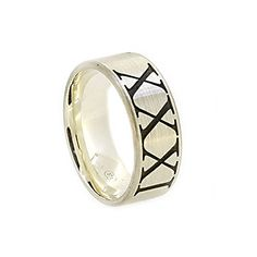 9ct white gold mens wedding ring 8.0mm wide band x 1.7mm deep with black ruthenium roman numerals brushed finish, polished edges comfort fit.