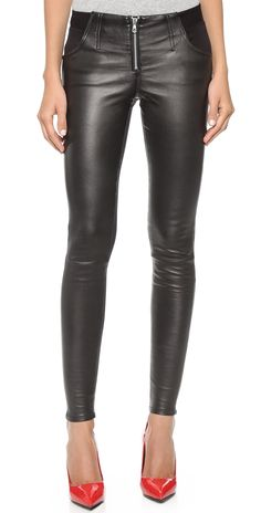 Joe's Jeans Knockout Leather Zip Leggings | SHOPBOP