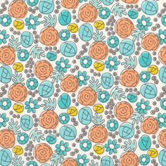 Floral Whimsy | Egg Blue  from Grey Abbey by Elizabeth Olwen for Cloud9 Fabrics