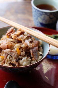我が家で断トツ人気1位の炊き込みご飯~肉めしのレシピ - 今日、なに食べよう?〜有機野菜の畑から~ Lunch Recipes, Cooking Recipes, Japanese Food, Main Dishes, Pork, Food And Drink, Menu, Rice, Favorite Recipes