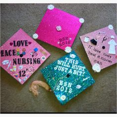 Decorated Graduation caps! Go Nursing! 1: Bought scrapbook paper from Michaels and glued it on (cut out a hole where the tassel attaches!). 2: used scrapbook decorations and letters also from Michaels! That's it! Took 15 minutes!
