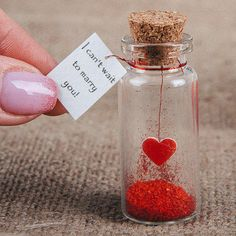 Items similar to marry me unusual wedding proposal marriage proposal tiny message in a bottle wedding proposal personalized wedding proposal small gift on etsy Valentines Gifts For Boyfriend, Valentines Diy, Boyfriend Gifts, Leather Anniversary Gift, 3rd Anniversary Gifts, Paper Gift Box, Diy Gift Box, Bottle Charms, Bottle Art