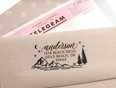 Address Stamp - Custom Address Stamp with Mountains wedding housewarming christmas gift rubber stamp return address stamp self inking Bergen, Hipster Fonts, Holiday Gifts, Christmas Gifts, Custom Return Address Stamp, Great Wedding Gifts, Change Of Address, Custom Stamps, Self Inking Stamps