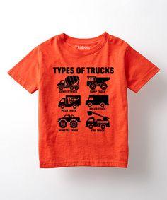 Love this Orange 'Types of Trucks' Tee - Toddlers & Boys on #zulily! #zulilyfinds