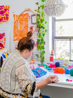 Sydney needlework artist Liz Payne at work in her home studio. Photo – Nikki To for The Design Files.
