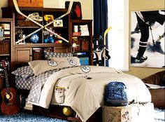 NHL Beadboard Bedroom for teenage boys - Best Home Decorating Ideas - Easy Interior Design and Decor Tips Bedroom Themes, Bedroom Sets, Bedroom Decor, Bedroom Storage, Bedroom Designs, Boys Bedroom Paint, Hockey Bedroom, Teenage Girl Bedrooms, Boy Bedrooms