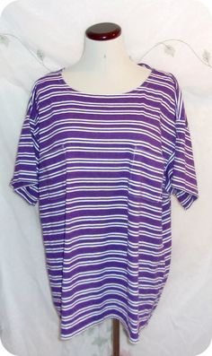 LEVI STRAUSS & CO Top Plus Size 2X Womens Purple White Striped Short Sleeve  #LeviStraussCo #KnitTop #CareerCasual