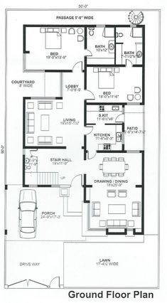 House Plans Mansion, Sims House Plans, Basement House Plans, House Layout Plans, Family House Plans, Best House Plans, House Layouts, House Floor Plans, 10 Marla House Plan