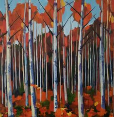 Jenn Hallgren is a Philadelphia Oil Painter who paints many tree and gardenscapes. Paintings I Love, Original Paintings, Original Art, Birch Forest, Birch Trees, Autumn Forest, Autumn Fall, Oil On Canvas, Canvas Art