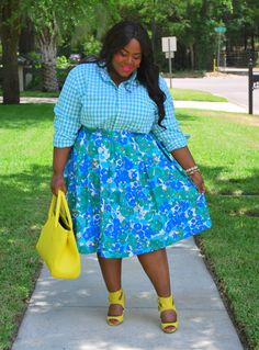 Musings of a Curvy Lady, Monochrome, Mixed Prints, Yellow, Gingham Print, Floral Print, Midi Skirt, Zara Official, Zara Shoes, YOURS Clothing UK, Plus Size Fashion, Fashion Blogger, Women's Fashion, OOTD, Spring Fashion