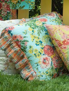 Zinnia Garden Cushion | Bedding, Cushions & Accessories :Beautiful Designs by April Cornell