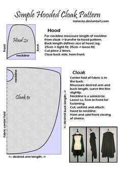 Simple Hooded Cloak Pattern by ~Nenesta