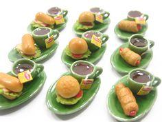 Dolls House Miniature Food 9 Ceramic Tea Break Mini Set With Bread Bakery Supply Charm Deco - 5605. $19.99, via Etsy.