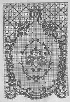 World crochet: Curtain 102 Filet Crochet Charts, Cross Stitch Charts, Cross Stitch Embroidery, Cross Stitch Patterns, Crochet Patterns, Crochet Buttons, Thread Crochet, Knit Crochet, Fillet Crochet