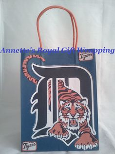 6052fbb487 ECO Friendly~ Recycled Paper Bag M.L.B Tigers Handcrafted Sport Gift Bag  Size: (H