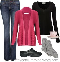 """Staying home on a snowy day!"" by fiftynotfrumpy on Polyvore"