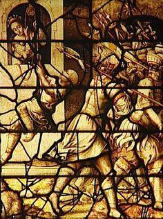 Réunion des Musées Nationaux-Grand Palais - Musée d'Ecouen, vitraux - L'évasion de David, Notre Dame du Val à Provins. Milieu XVI°s, France.