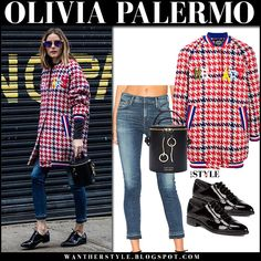 Olivia Palermo in red blue houndstooth jacket, skinny jeans and black patent oxfords