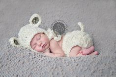 Baby Lamb, Sheep Hat, Bonnet and Diaper Cover Set - Spring, Easter, Holiday Props on Etsy, $42.50