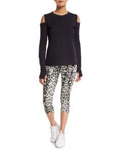 -6AX7 Varley  Pico Crop Leopard-Print Sport Leggings Rennie Cold-Shoulder Sport Sweater, Black