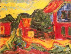 À la gare, Karl Schmidt-Rottluff Emil Nolde, Ernst Ludwig Kirchner, Kandinsky, Dresden, Karl Schmidt Rottluff, Degenerate Art, Expressionist Artists, Vintage Artwork, Paisajes