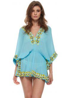 Lindsey Brown Manhattan Blue Silk Kaftan Top With Chunky Sequin Trim