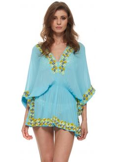 Lindsey Brown Manhattan Blue Silk Kaftan Top With Chunky Sequin Trim