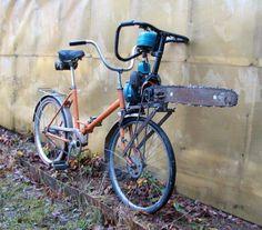 Zombie preparedness. - Chainsaw on bike