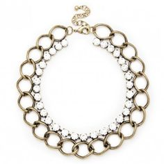 Chainlink & crystal stone statement necklace in antique gold-toned metal
