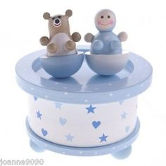 #Gisela graham blue #wooden music box baby boy and bear newborn retro #bedroom gi,  View more on the LINK: 	http://www.zeppy.io/product/gb/2/350872650605/