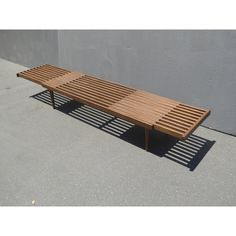 Vintage Mid Century Modern Expandable Bench or Coffee Table W Wood Slats For Sale In Los Angeles - Image 6 of 9