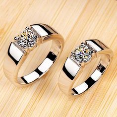 Couples rings 1 ct simulate diamond ring man and ct ring woman fashion wedding rings 925 silver – Wedding Rings Engagement Ring Rose Gold, Engagement Rings Couple, Vintage Engagement Rings, Solitaire Engagement, Silver Wedding Rings, Wedding Jewelry, Silver Rings, Male Wedding Rings, Wedding Bands