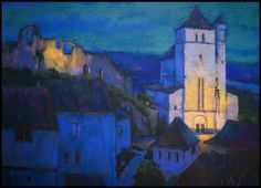 Village Twilight, France, Terri Ford