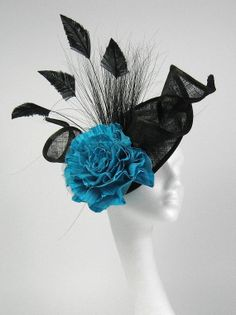 Black and Turquoise Iliana Fascinator Kentucky by Hatsbycressida