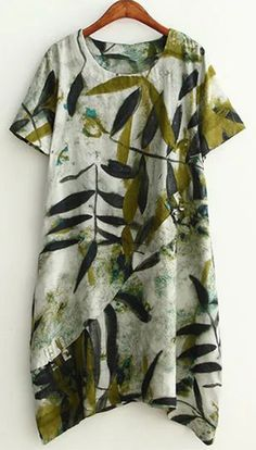 Plus Size Leaf Ink Painting Baggy Dress