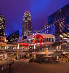 Epicentre in Uptown Charlotte, NC (within walking distance of the Convention Center - trendy restaurants and nightlife, movie theater, drug store open late for any items you may have left at home!)