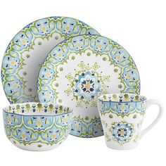 Celeste Dinnerware, for Summer dining with white dinnerware pieces.  Dark blue chargers or round placemats.