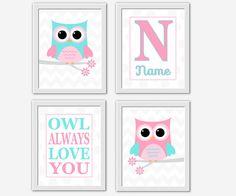 OWL Baby Nursery Wall Art Pink Aqua Gray Girl Bedroom Art Baby Girl Nursery Decor Owl Prints Monogram Baby Nursery Decor Art CHOOSE YOUR OWN