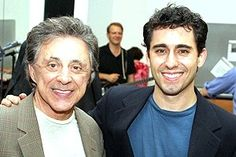 "Frankie Valli with John Lloyd Young, the young man who won a Tony for playing him in ""Jersey Boys"" on Broadway. John Lloyd Young, Mark Ballas, Frankie Valli, Jersey Boys, Pop Culture, Musicals, Tv Shows, The Incredibles, Singer"