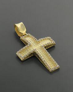 Σταυρός βάπτισης Χρυσός Κ14 με Ζιργκόν Gold Chains For Men, Crosses, Bella, Gold Jewelry, Gold Rings, Antiques, Fashion, Gold Pendant, Antiquities