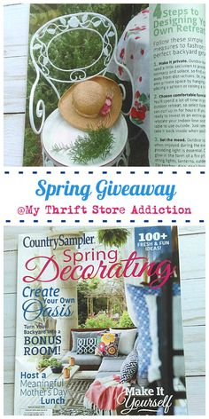 If you're longing for sunny spring weather, drop by for your chance to win a copy of Country Sampler's Spring decorating issue. It's overflowing with DIY inspiration!