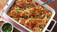 Read comments and double or triple teriyaki sauce and precook rice. Traditional chicken and rice casserole gets a sweet-and-savory tropical twist with teriyaki-glazed chicken and pineapple rice. Teriyaki Chicken, Glazed Chicken, Chicken Rice, Sauce Teriyaki, Teriyaki Rice, Greek Chicken, Barbecue Chicken, Chicken Casserole, Tater Tot Casserole