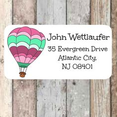 Air Balloon return address labels colorful air balloon by Labelin Return Address Stickers, Return Address Labels, Air Balloon, Balloons, Mailing Labels, Envelope, Colorful, Handmade Gifts, Etsy